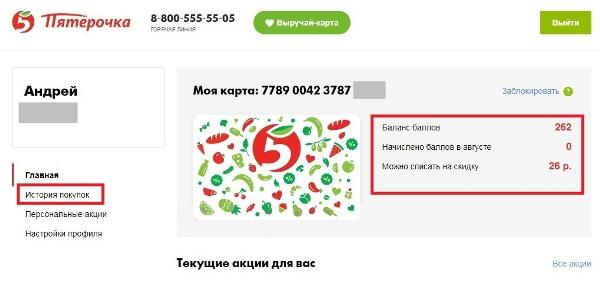 Интерфейс личного кабинета бонусного счета карты Пятерочка